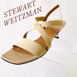 STEWART WEITZMAN CREAM COLOR VINTAGE KITTEN HEELS